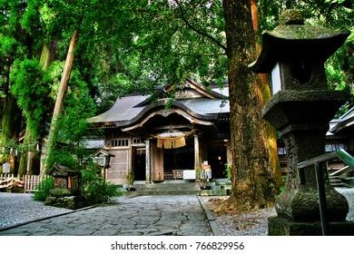 Takachiho Shrine (Takachiho Jinja), a Shinto shrine dedicated to Takachihosumegami and Jisshyadaimyoujin, Takachiho-cho, Nishiusuki District, Miyazaki Prefecture, Kyushu region, Japan