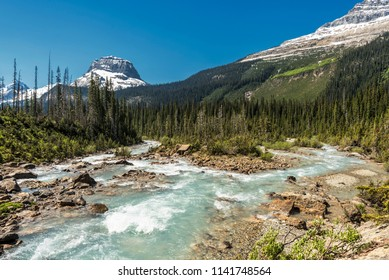 Takakkaw Falls (Yoho National Park) is located in British Columbia, Canada. When you look away from the water fall, you have this wonderful view.