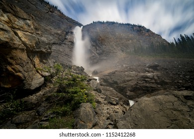 Takakkaw Falls in Yoho National Park British Columbia thundering over the cliff.