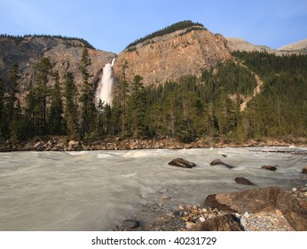 Takakkaw Falls and Yoho River in Yoho National Park, British Columbia, Canada.