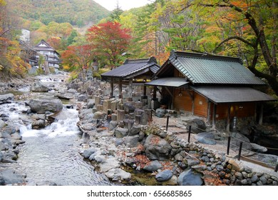Takaragawa onsen hot spring with colorful trees in autumn, Japan