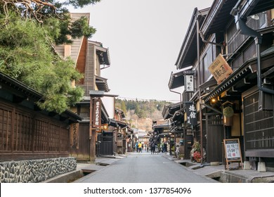 Takayama Gifu, Japan – April 9, 2019 : Landscape of Takayama old town the famous vintage and classic landmark with wooden house along the street in Takayama, Japan
