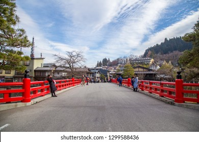 Takayama, Gifu, Japan - December 2018 : Nakabashi Bridge with red colour is one of the symbols of Hida-Takayama old town in Chubu region.