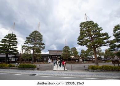 TAKAYAMA, JAPAN - DEC7 2018: Takayama jinya old government headquarters for Hida Province at Hachiken-machi old Edo district of Takayama.
