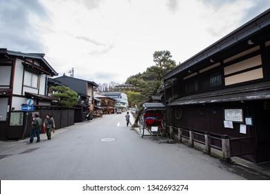 TAKAYAMA, JAPAN - DEC7 2018: Old vintage local shop nice wooden exterior of Sanmachi Suji