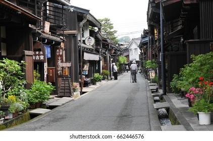 TAKAYAMA, JAPAN - JUNE 17, 2015 Tourist walk around in Takayama old town