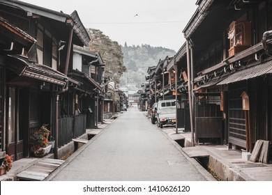 Takayama, Japan MAY 16, 2019: Nagano, Japan Old wooden house and narrow street of Narai Post town (Narai-Juku) the midpoint town on Nakasendo road, Edo period trading route between old Tokyo and Kyoto