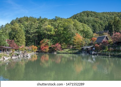 Takayama, Japan: October 21, 2018:  Hida Folk Village, established in 1971, is an open museum that features 30 traditional houses from the Hilda region that have been moved to this location.