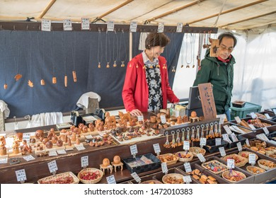 Takayama, Japan: October 21, 2018:  Takayama Morning Markets (Asaichi) in the daytime, which offers a lot of locally made items.  The Takayama Morning Markets opened 300 years ago.