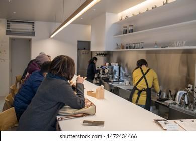 Takayama, Japan: October 21, 2018:  Interior of an independent coffeehouse in Takayama.  Takayama is a popular tourist destination.