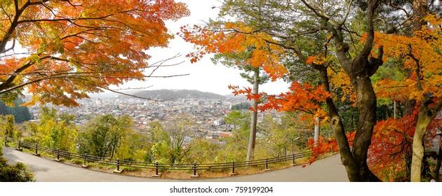Takayama Panorama Cityscape in autumn, takayama prefecture, japan.