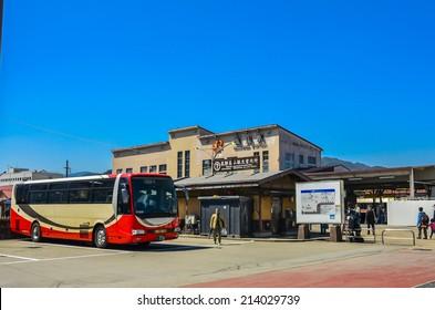 TAKAYAMA,JAPAN - 14 April,2014:JR Takayama Station and the adjacent Takayama Hida Bus Center are located about a ten minute walk from Takayama's old town on the opposite side of Miyagawa River.