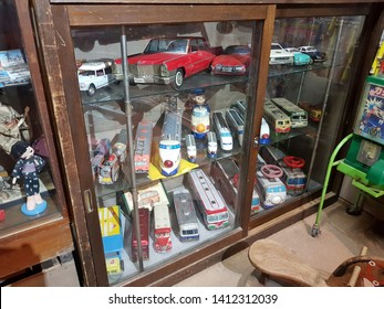Takayama,Japan-Circa September 2018: Vintage miniature collectible cars show in a local museum at day that reminds people to think about good old days.