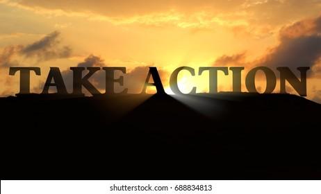 Take Action sunset landscape - 3d rendering