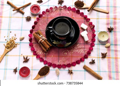 take a arabic coffee cup aromatic cinnamon stick on wood table decorate star anise  and candle