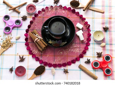 take a arabic coffee cup aromatic cinnamon stick on wood table decorate star anise  and candle and spinner