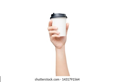 Take away coffee cup background. Female hand holding a coffee paper cup isolated on white background with clipping path. Close-up image.