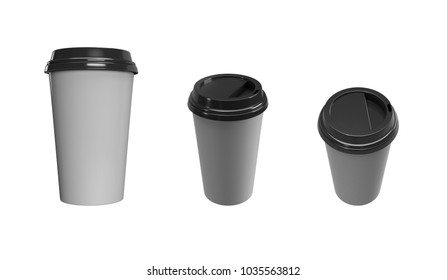 Take away  cup for drinks with black plastic cap 3D  render.