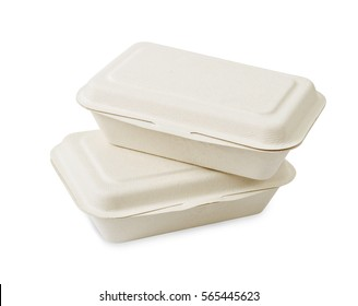 take away food boxes made of paper isolated on white background, Save clipping path.