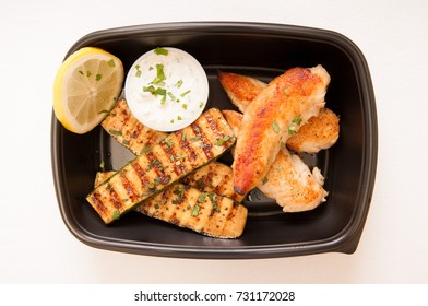 take away grilled chicken strips and grilled zucchini, a ketogenic diet meal