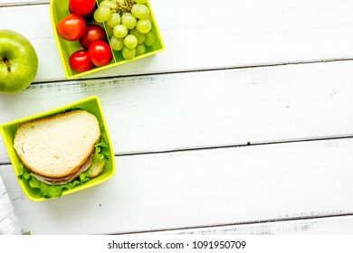 take away with lunchbox and fresh food on white background top v