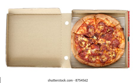 Take away pepperoni pizza on opened up card board delivery box.