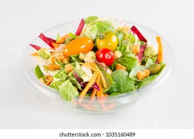 Take away salad on white background
