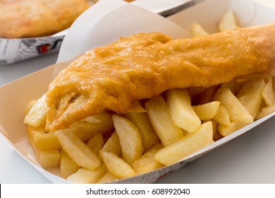 Take away tray with fish and chips