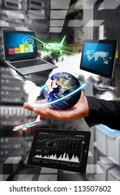 Take control the digital world in data center room : Elements of this image furnished by NASA