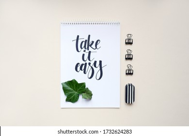 take it easy, calligraphic background