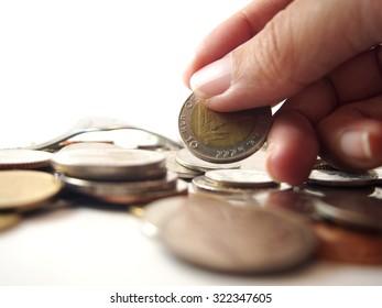 Take money, thai baht coin