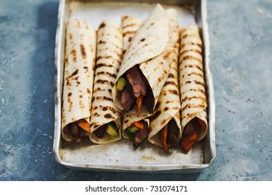 Take out food mexican food beef steak fajitas