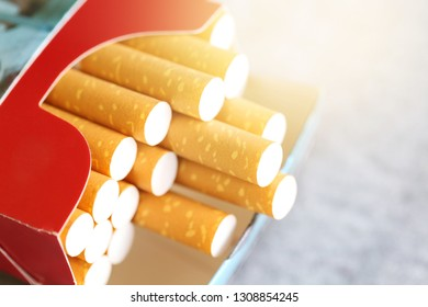 Take a pack of cigarettes at close distance.