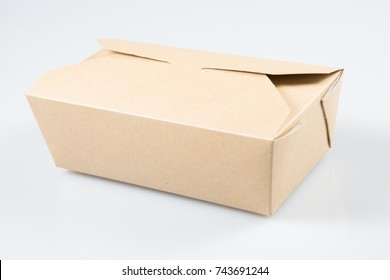 Takeaway cake box on white background isolated