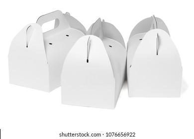 Takeaway Cake Boxes on White Background