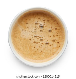 Take-away Coffee top view isolated on white background
