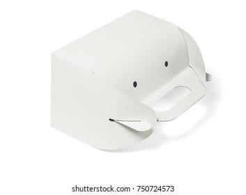 Takeaway Paper Cake Box Lying on White Background