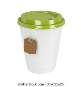 Takeaway tea cup on white background