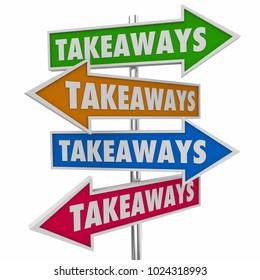Takeaways Arrow Signs New Information Knowledge 3d Illustration