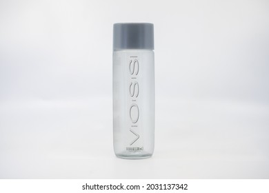 Taken at Business Bay, Dubai on 19th January 2021. A transparent container of Voss Drinking Water on a white background.