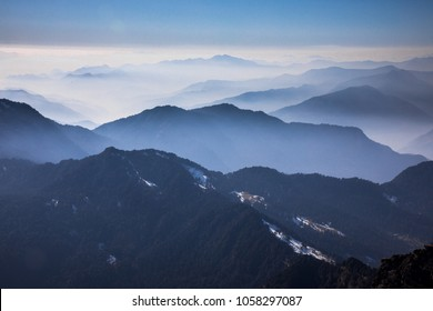 Taken from the Chandrashila trek, it was a cold foggy morning. We started our trek from the small white spot that can be seen on the far right on the image.