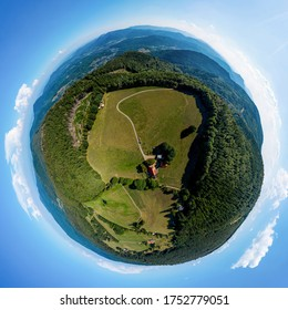 Taken from the drone spherical panoramic view of Vosges mountains in Alsace. Little planet projection. France
