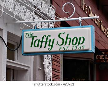 Taken in Estes, Colorado. An adorable Taffy Shop sign.