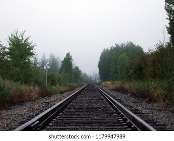 Taken as a low point perspective, early morning Autumn fog down the traintracks.