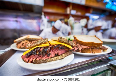 Taken in New York State, New York, Manhattan, April 18th, 2017, Katz's Delicatessen, a sandwich, reuben on rye bread with cheese, a local shop that's very popular with tourists