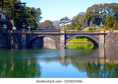 Taken on 29th March 2012 in Tokyo, Japan. The Niju-bashi bridge and Fujimi Yagura turret at the Japanese Imperial Palace in Tokyo where the Emperor of Japan and and Royal family lives.