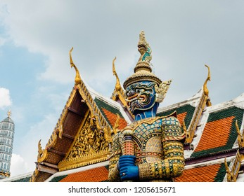 Taken on October 15, 2018 in Bangkok, Thailand A portrait of a giant named Verulung, with dark blue body guarding the front of the temple. at Wat Phra Kaew.