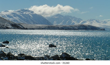 Taken from the shore of Lake Tekapo looking across to Mt Cook