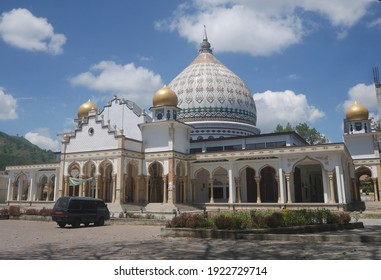 Takengon, Aceh, Indonesia - 02 21 2021 : Beautiful view of Ruhama grand mosque, Takengon, Indonesia