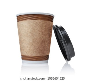 Take-out blank paper brown coffee cup with black cover and craft cup holder isolated on white background